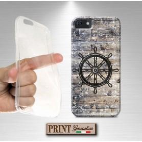 Cover stampata Nautica TIMONE VINTAGE LEGNO effetto Samsung