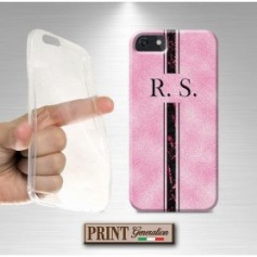 Cover Personalizzata - MONOGRAMMA INIZIALI NOME - ROSA GLITTER - Samsung