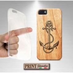 Cover stampata Nautica ANCORA LEGNO effetto Huawei