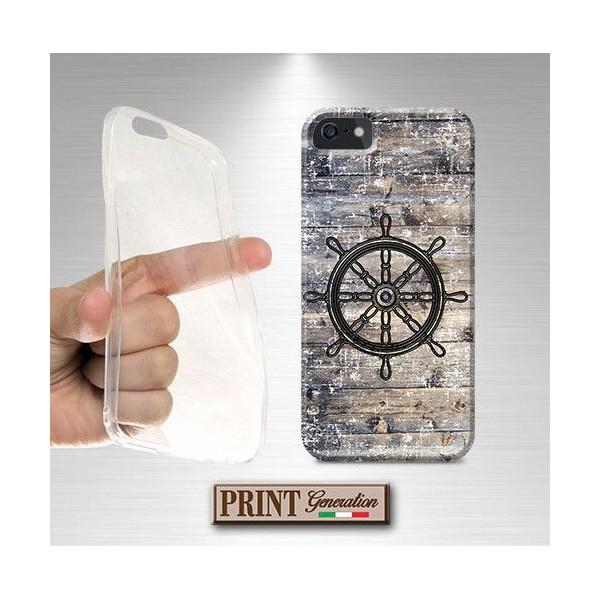 Cover stampata Nautica TIMONE VINTAGE LEGNO effetto Huawei