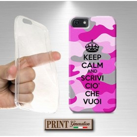 Cover Personalizzata - KEEP CALM MIMETICA ROSA - iPhone