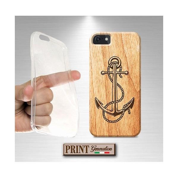 Cover stampata Nautica ANCORA LEGNO effetto iPhone