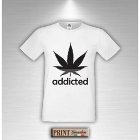 T-Shirt - ADDICTED MARIJUANA - Frasi divertenti - Idea regalo
