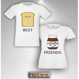 T-Shirt - BEST FRIENDS BREAD AND NUTS CREAM - Amicizia - Idea regalo - Coppia