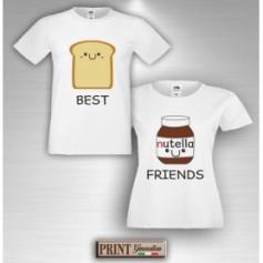 T-Shirt - BEST FRIENDS BREAD AND NUTS CREAM - Amicizia - Idea regalo - Coppia