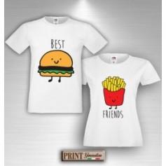 T-Shirt - BEST FRIENDS HAMBURGER E PATATINE - Amicizia - Idea regalo - Coppia