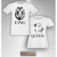 T-Shirt - LEONE LEONESSA KING QUEEN - Idea regalo - San Valentino - Coppia