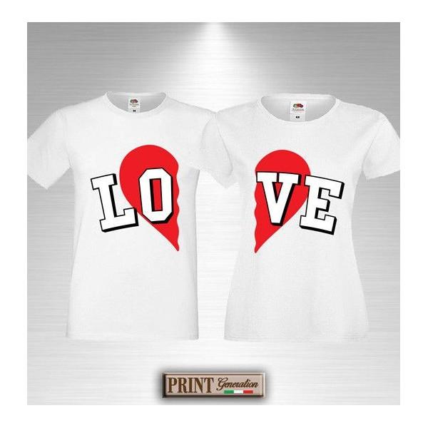 T-Shirt LOVE Coppia Idea Regalo San Valentino Anniversario Innamorati Matrimonio