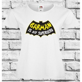 T-Shirt - BARMAN IS MY SUPERHERO - Idea regalo - Barista