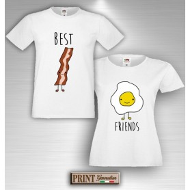 T-Shirt - BEST FRIENDS BACON E UOVA - Amicizia - Idea regalo - Coppia