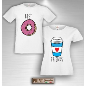 T-Shirt - BEST FRIENDS DONUT E COFFEE - Amicizia - Idea regalo - Coppia