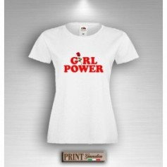 T-Shirt - GIRL POWER CON ROSA - Idea regalo - Frasi divertenti