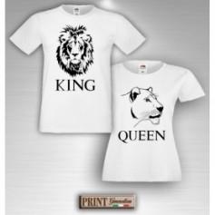 T-Shirt - LEONE LEONESSA KING QUEEN - Idea regalo - San Valentino - Coppia