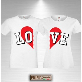 T-Shirt - LOVE CUORE A META' - Idea regalo - San Valentino