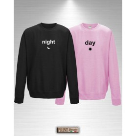 Felpa - NIGHT & DAY - Idea regalo - San Valentino - Coppia
