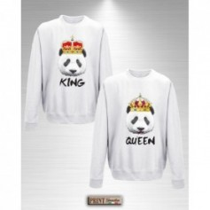 Felpa - PANDA KING QUEEN - Idea regalo - San Valentino - Coppia