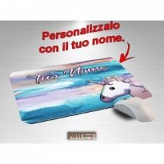 Tappetino Mouse Personalizzato - UNICORNO ACQUARELLO CON NOME A SCELTA - Idea regalo