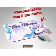 Tappetino Mouse Personalizzato - UNICORNO MARMO ROSA CON NOME A SCELTA - Idea regalo