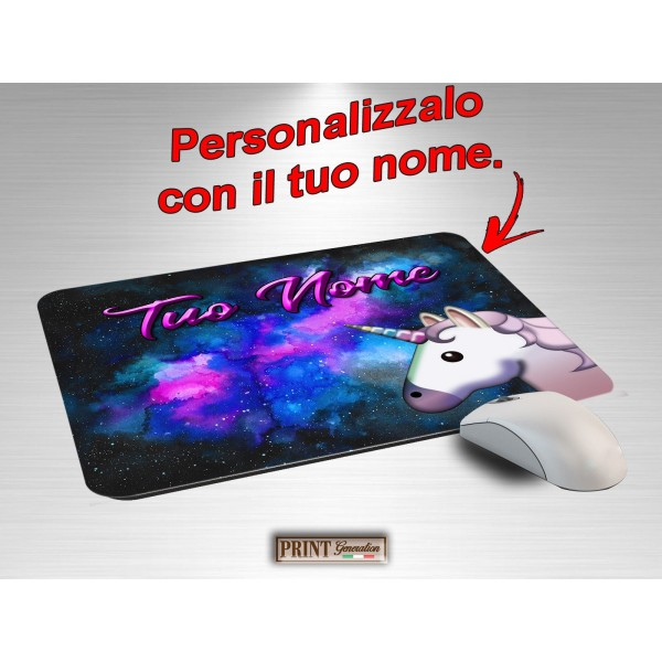 Tappetino Mouse Personalizzato - UNICORNO NEBULOSA CON NOME - Idea regalo