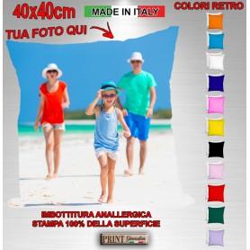 Cuscino PERSONALIZZATO con TUA FOTO Quadrato 40x40cm Colorato con Imbottitura