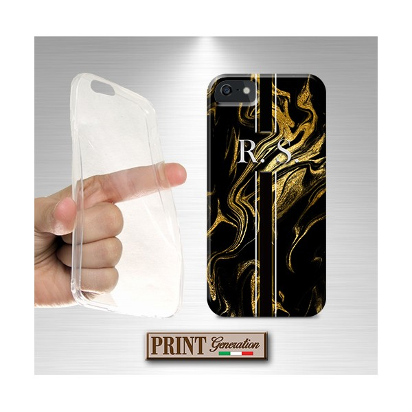 Cover stampata Marmo nero oro effetto glitter iPhone