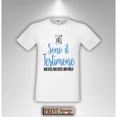 T-Shirt SONO IL TESTIMONE non vedo non sento non parlo Addio al celibato - Amico Sposo Frase Divertente