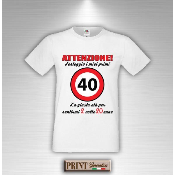 Favorito T-Shirt Quarantesimo Compleanno 40 Anni 2 Volte Ventenne BU09
