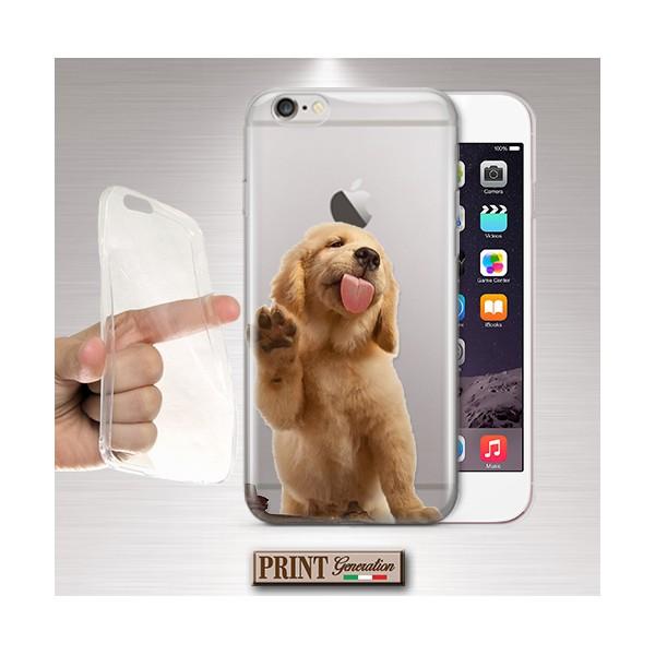 Cover 'GOLDEN RETRIEVER puppy trasp' CUCCIOLO CARINO CANE TRASPARENTE animali domestici divertente IPHONE