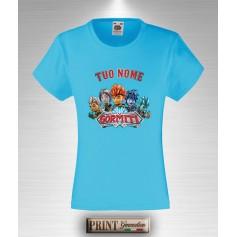 T-shirt slim fit Bambina GORMITI Personalizzata con Nome