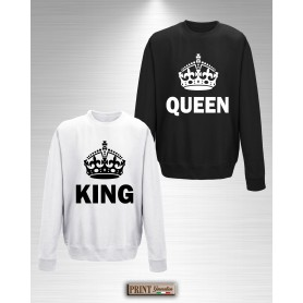 Felpa - KING QUEEN - Idea regalo - San Valentino