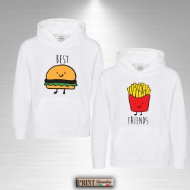 Felpa con cappuccio - BEST FRIENDS HAMBURGER E PATATINE - Idea regalo