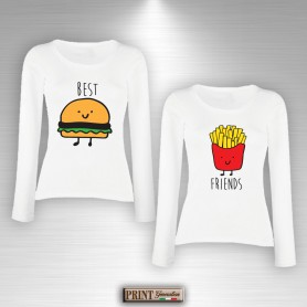 T-Shirt maniche lunghe - BEST FRIENDS HAMBURGER E PATATINE - Idea regalo