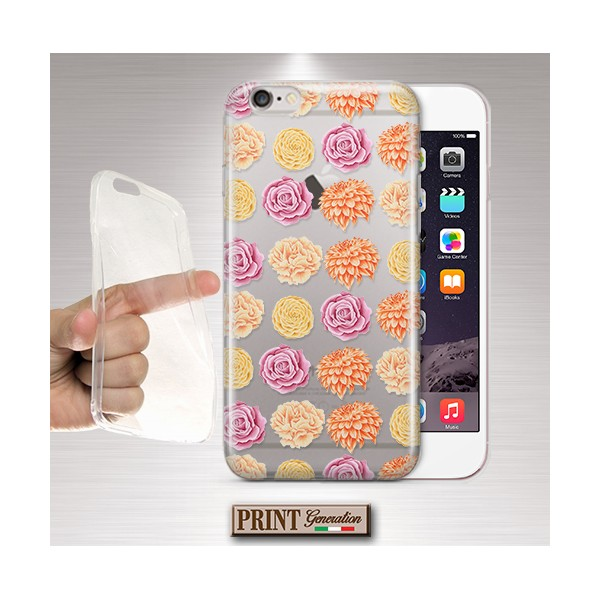 Cover - 'peachy palette flowers trasp' TRASPARENTE fiori rosa carino IPHONE