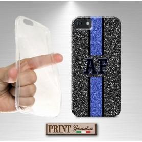 Cover stampata Personalizzata monogramma strass nero blu effetto glitter Oppo
